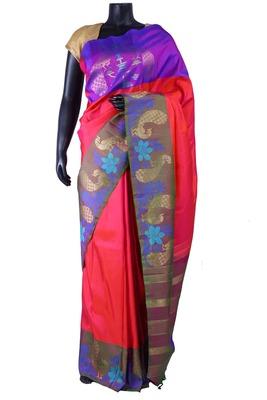 Peachish pink pure silk saree in wine & gold zari weaved pallu-SR5287