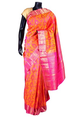 Orangish yellow pure silk weaved saree with bright pink pallu-SR5321