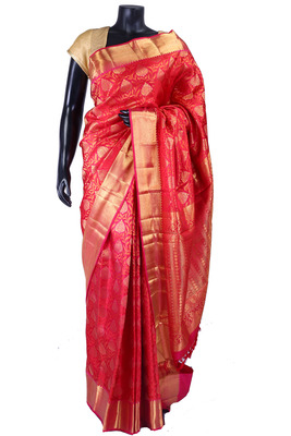 Red pure silk zari weaved saree  with golden border & red blouse-SR5333