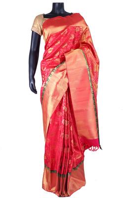 Red pure silk zari weaved saree in gold & black border-SR5335