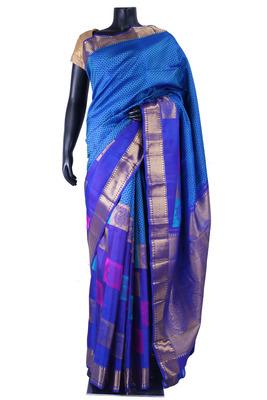 Blue pure silk zari weaved saree in golden border & royal blue pallu-SR5342