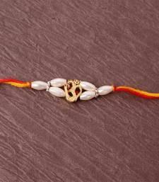 Buy Om Pearl Beads Rakhi divine-rakhi online