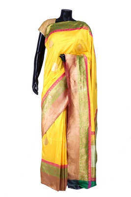 Yellow banarasi silk zari weaved saree in multi colour border & pallu-SR5437