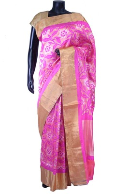 Pink pure silk zari weaved saree in golden border & pink blouse-SR5556