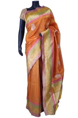 Rust pure silk zari weaved saree in multi colour border-SR5589