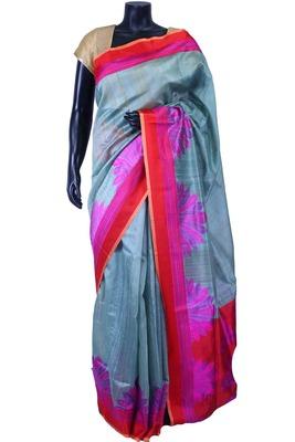 Teal pure silk weaved saree in red weaved pallu & blouse-SR5590