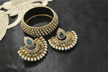 New Ram Leela Rama Green colour Earrings with Gold Plated Stones Kada