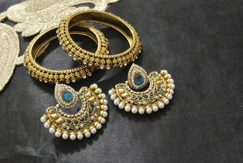 New Ram Leela Rama Green colour Earrings with Gold Plated Bangles