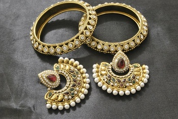 New Ram Leela Maroon & Green Colour Earrings with Gold Plated Bangles with Stones
