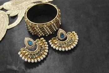 New Ram Leela Rama Green colour Earrings with Multicolour Gold Plated Stones Kada