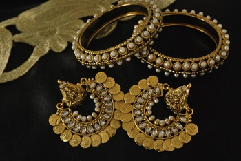 Ram Leela Kundan Earrings with Gold Plated Pearl Bangles
