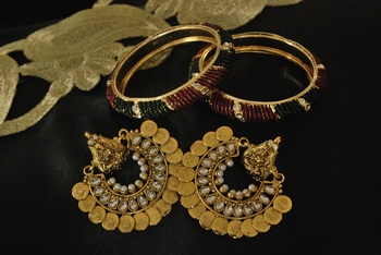 Ram Leela Kundan Earrings with Gold Plated Bangles set Beaded with Maroon & Green colour