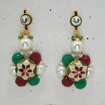 Meenakari Ball Earring with Cutting Drops (Pearl Blue)