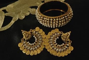 Ram Leela Kundan Earrings with Gold Plated Pearl Kada