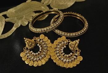 Ram Leela Kundan Earrings with Gold Plated Stones Bangles