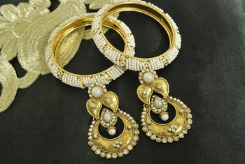 Long Pearl Earrings & Gold Plated Bangles with White colour Beads