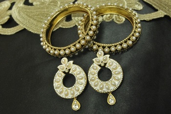 White Meenakari Earrings with Gold Plated Pearl Bangles
