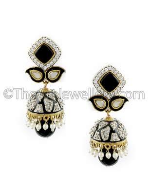Black Antique Victorian Jhumki Earrings Jewellery for Women - Orniza