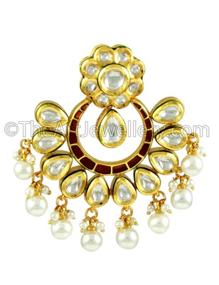 Ruby Red Vilandi Kundan Dangle Earrings Jewellery for Women - Orniza