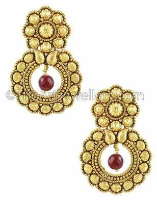 Maroon Red Traditional Rajwadi Dangle Earrings Jewellery for Women - Orniza