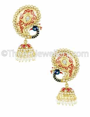 Peacock Ruby Red Traditional Rajwadi Jhumki Earrings Jewellery for Women - Orniza