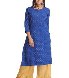 Buy Royal blue embroidered stitched cotton-kurtis chikankari-kurti online