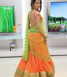 Buy Orange embroidered silk semi stitched lehenga with dupatta lehenga-below-2000 online