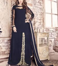 Buy Navy blue embroidered georgette salwar with dupatta pakistani-salwar-kameez online