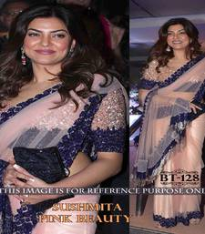 Buy Baby pink embroidered net saree with blouse net-saree online