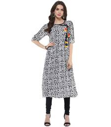 Buy Black woven rayon stitched kurtas-and-kurtis wedding-season-sale online