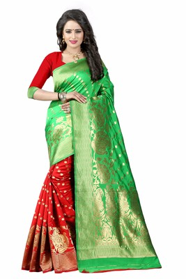 Parrot green printed banarasi silk saree with blouse