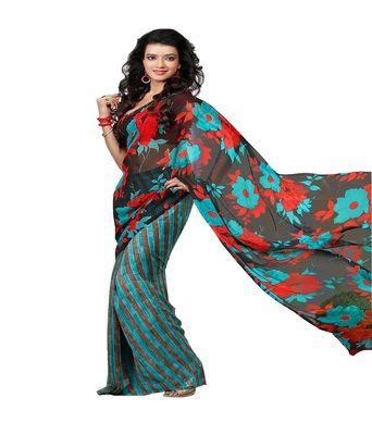 Blue printed saree  georgette saree