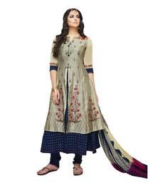 Buy grey resham embroidery chanderi stitched salwar with dupatta party-wear-salwar-kameez online