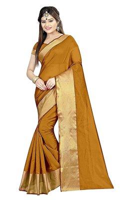 Dark mustard printed cotton silk saree with blouse