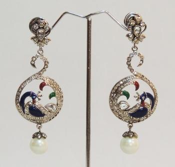 Silver Antique Peacock Pearl Teardrop Earrings