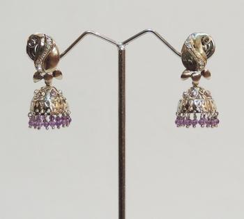 Silver Antique Kairi Purple Jhaalar Jhumka or Jhumki