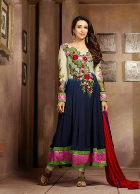 Blue Embroidery Pure Georgette Semi Stitched Designer Anarkali Suit