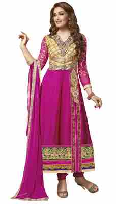 Staggering Embroidered Faux Georgette Anarkali