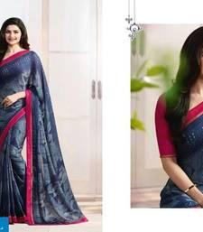 Buy Blue printed pure silk saree with blouse silk-saree online