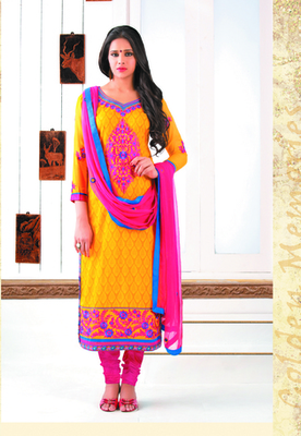 Yellow Color Straight Cut Suit This Suit Has This Suit Has Floral Embroidery Work