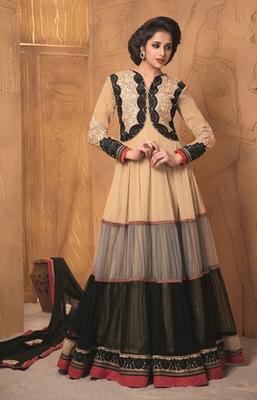 Beige Color Anarkali Suit On Semi Pure Georgette Fabric