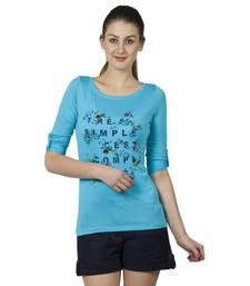 Buy Women turq viscose printed t shirt party-top online