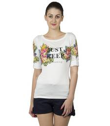 Buy Women offwhite viscose printed t shirt party-top online