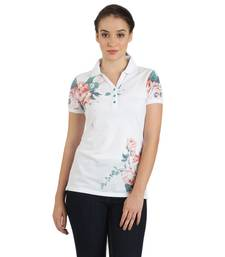 Buy Women offwhite piquet printed t shirt party-top online
