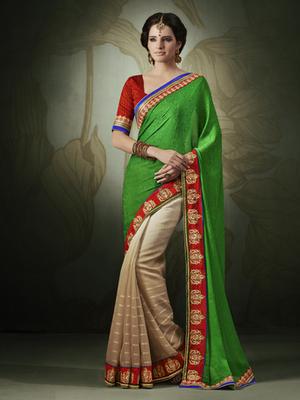 Jacquard Green Designer Saree