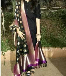 Buy Black printed silk salwar with dupatta salwar-kameez-below-2000 online