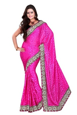 Aesha designe Brasso  Pink saree with Matching blouse