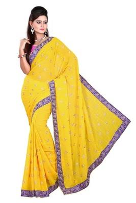 Aesha designer Chiffon yellow saree with matching Blouse