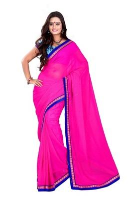 Aesha designer Chiffon Pink saree with matching blouse