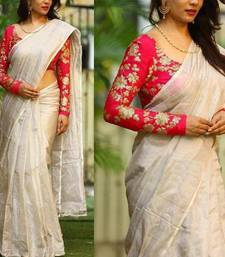 Buy White embroidered chanderi saree with blouse chanderi-saree online